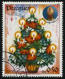 Christmas Tree. RUSSIA KALININGRAD, 22 APRIL 2017: stamp printed by Paraguay, shows Christmas Tree, circa 1984 royalty free stock photos