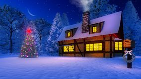 Christmas tree and rustic house at moonlight night. Rustic house with smoking chimney and icicles on the eaves and illuminated christmas tree under starry night Stock Photo