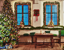 Christmas Tree in a rustic Room Royalty Free Stock Photo