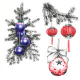 Christmas-tree`s toys. Fir-tree branches with Christmas-tree`s toys Stock Photo