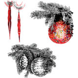 Christmas-tree`s toys. Fir-tree branches with Christmas-tree`s toys Royalty Free Stock Photos
