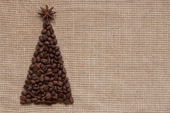 Christmas tree on sack background Royalty Free Stock Images