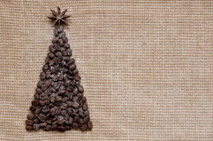 Christmas tree on sack background snowy Stock Images