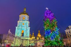 Christmas tree and Saint Sophia Cathedral, a UNESCO world heritage site in Kiev, Ukraine. Christmas tree and Saint Sophia Cathedral, a UNESCO world heritage site Royalty Free Stock Photography