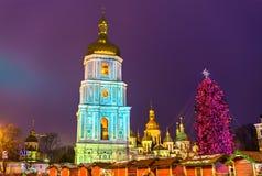 Christmas tree and Saint Sophia Cathedral, a UNESCO world heritage site in Kiev, Ukraine. Christmas tree and Saint Sophia Cathedral, a UNESCO world heritage site Stock Photos