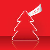 Christmas tree with sale tag. On the traditional red background stock illustration