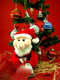Christmas tree with santa. Santa with christmas tree and bag Stock Images