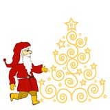 Christmas tree  and Santa Claus Royalty Free Stock Photography