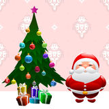 Christmas tree and santa claus Royalty Free Stock Image