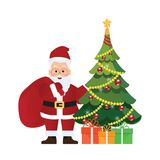 Christmas tree and Santa Claus with bag and gift box. Christmas tree and Santa Claus with bag and gift box , vector illustration Stock Photography