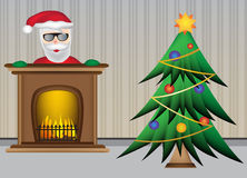 Christmas tree with santa claus and beautiful warm fireplace Royalty Free Stock Photos