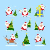 Christmas tree and Santa Claus. Collection of Merry Christmas Royalty Free Stock Photo