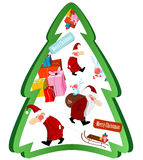 Christmas tree with Santa Claus and gifts. On white background Royalty Free Stock Photography
