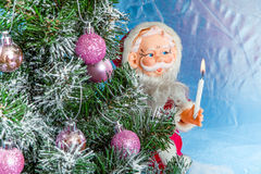 Christmas Tree with Santa Claus Stock Images