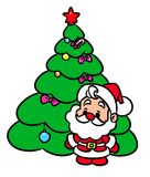 Christmas tree Santa Claus mini cartoon illustration Stock Image