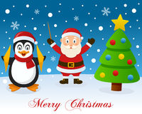 Christmas Tree, Santa Claus & Penguin Royalty Free Stock Photos