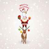 Christmas tree with Santa Claus, reindeer and snowman. Christmas vector illustration. Holiday background Stock Photos