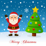 Christmas Tree & Santa Claus on the Snow Stock Images