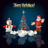 Christmas tree Santa Claus and snowman. Abstract greeting with Christmas tree Santa Claus and snowman Stock Photo