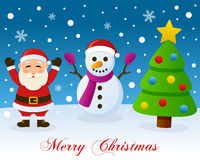 Christmas Tree, Santa Claus & Snowman Royalty Free Stock Image