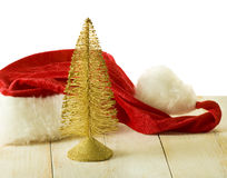 Christmas tree and Santa Clause hat Stock Images