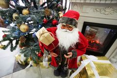 Christmas tree and santa with fire place royalty free stock photos