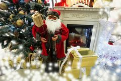 Christmas tree and santa with fire place royalty free stock images