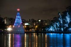 Christmas Tree in Sao Paulo Brazil. Christmas Tree lightened at night in Sao Paulo Brazil Stock Image