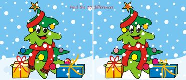 Christmas tree-scarf 10 differences. Find ten differences in the figures - the Christmas tree Stock Images