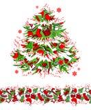 Christmas tree and seamless border. Christmas traditional tree and seamless border Stock Photography