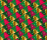 Christmas tree seamless geometry pattern in bright carnival colo Royalty Free Stock Images
