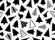 Christmas tree seamless illustration. On white background Stock Photos