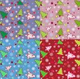 Christmas Tree Seamless Pattern Stock Photos
