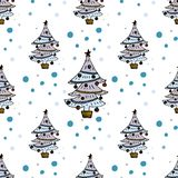 Christmas tree seamless pattern. Vector winter holiday illustration Royalty Free Stock Photography