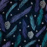Christmas Tree Seamless pattern. Ink hand drawn fir branches and cones Royalty Free Stock Photo