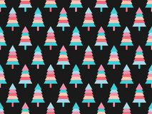 Christmas tree seamless pattern. Multicolor geometric fir-trees. Black background. Vector Royalty Free Stock Images