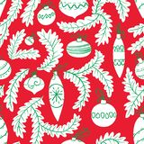 Christmas tree seamless pattern. New year cute background. Holiday seasonal backdrop with decoration balls. Vector illustration in bright colors royalty free illustration