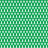 Christmas tree seamless pattern white color on green holiday background. Christmas decoration element. Vector Illustration Stock Images