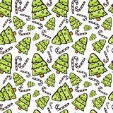 Christmas Tree Seamless Pattern Winter Holiday Ornament On White Background. Vector Illustration Royalty Free Stock Images