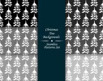 Christmas tree seamless patterns set illustrations. Christmas tree seamless patterns set Royalty Free Stock Photos