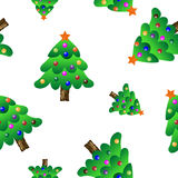 Christmas tree seamless periodic pattern, colorful  wallpaper, transparent background. Royalty Free Stock Photography
