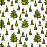 Christmas tree. Seamless vector pattern background. Royalty Free Stock Photography