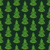 Christmas tree seamless vector pattern. Christmas new year colorful festive fir tree seamless vector pattern Royalty Free Stock Images