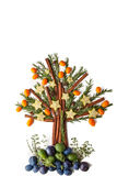 Christmas tree from seasoning , fruit and spices  vertical Royalty Free Stock Photo