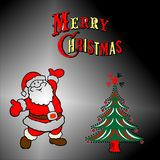 Christmas tree with senta claus Stock Photography