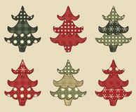 Christmas tree  set 1. Christmas tree set for scrapbooking. Illustration in the style of patchwork Royalty Free Stock Photo