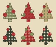 Christmas tree  set 2. Christmas tree set for scrapbooking. Illustration in the style of patchwork Stock Photos