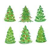 Christmas tree set. Christmas tree hand drawn set Royalty Free Stock Image