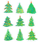 Christmas tree set Stock Photo