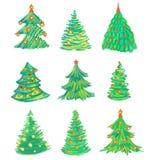 Christmas tree set. Christmas tree pencil hand drawn set Stock Photo